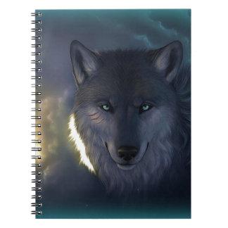 Lobo de la fantasía spiral notebooks