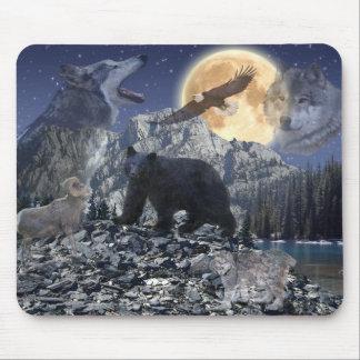 Lobo de la fauna de la montaña rocosa, oso, Eagle, Tapete De Raton
