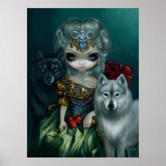 Lobo de la IMPRESIÓN del ARTE de Prêtresse del La  Póster