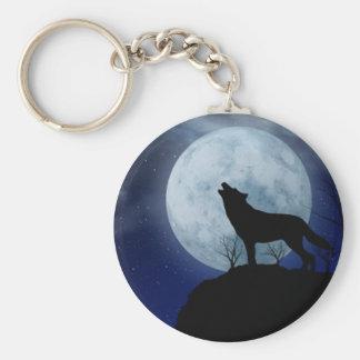 Lobo de la Luna Llena Llavero Redondo Tipo Pin
