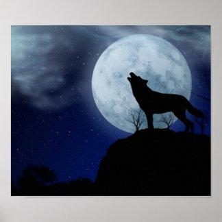 Lobo de la Luna Llena Posters