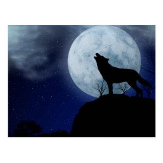 Lobo de la Luna Llena Postal