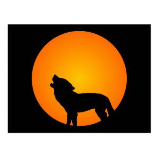 Lobo de la Luna Llena Tarjetas Postales