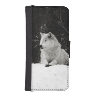 Lobo de la nieve fundas billetera de iPhone 5