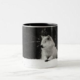 Lobo de la nieve taza de café
