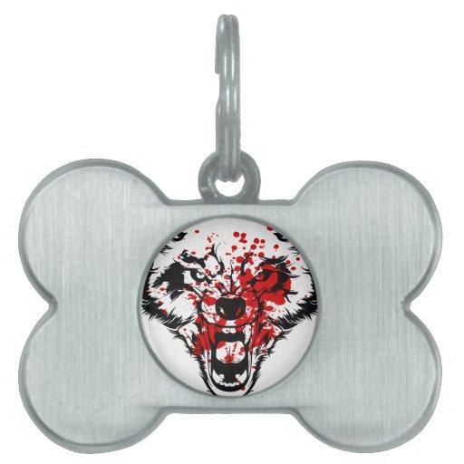 Lobo de la sangre placa mascota