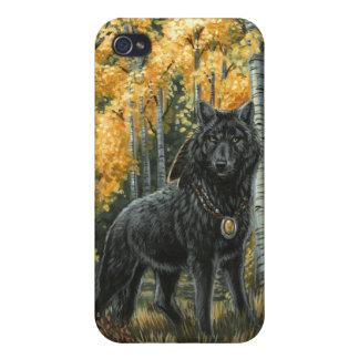 Lobo de la sombra del otoño iPhone 4 carcasas