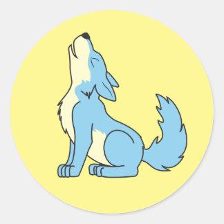 Lobo de los azules cielos del grito pegatina redonda
