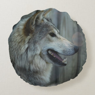 Lobo de madera cojín redondo