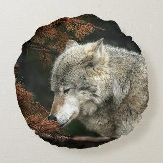 Lobo de madera contemplativo cojín redondo