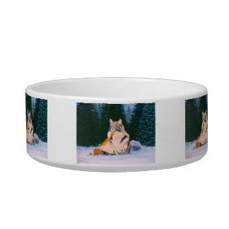 Lobo de madera tazón para agua para gatos