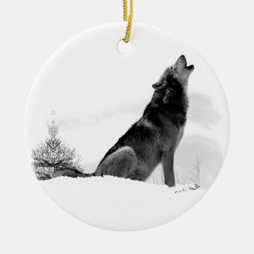 Lobo de madera de Alaska Adorno Navideño Redondo De Cerámica