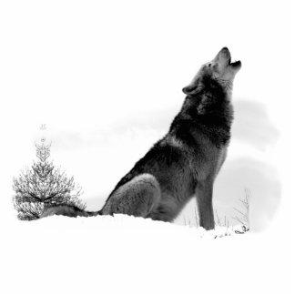 Lobo de madera de Alaska Fotoescultura Vertical