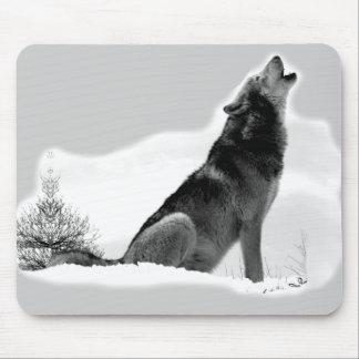 Lobo de madera de Alaska Mousepad Tapetes De Ratón