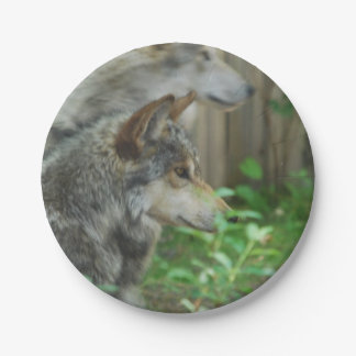 Lobo de madera plato de papel de 7 pulgadas