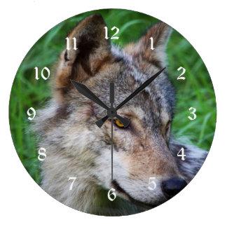 Lobo de madera reloj redondo grande