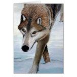Lobo de madera tarjeta