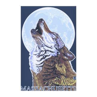Lobo de MassachusettsHowling Lona Envuelta Para Galerías