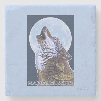 Lobo de MassachusettsHowling Posavasos De Piedra