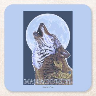 Lobo de MassachusettsHowling Posavasos Desechable Cuadrado