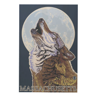 Lobo de MassachusettsHowling Impresión En Madera