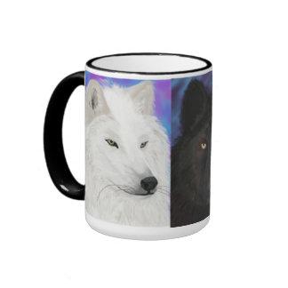 Lobo de muchos colores taza de dos colores