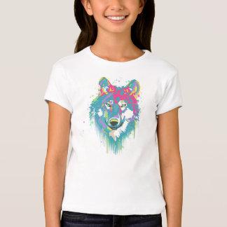Lobo de neón azul rosado brillante de las playera