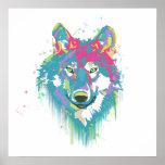Lobo de neón azul rosado brillante de las salpicad impresiones