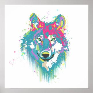 Lobo de neón azul rosado brillante de las salpicad póster