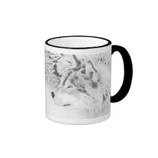"""Lobo de plata con """"el credo de un lobo """" taza de dos colores"""