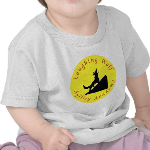 lobo de risa en luna camisetas