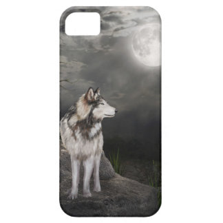 Lobo debajo de una Luna Llena iPhone 5 Cárcasa