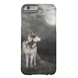 Lobo debajo de una Luna Llena Funda De iPhone 6 Barely There