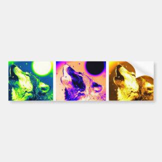Lobo del arte pop etiqueta de parachoque