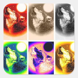 Lobo del arte pop pegatina cuadrada