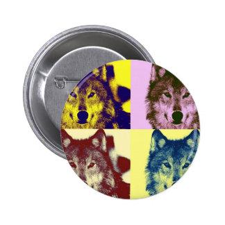 Lobo del arte pop pin redondo de 2 pulgadas