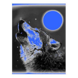 Lobo del arte pop que grita en la postal de la