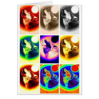 Lobo del arte pop tarjeta de felicitación