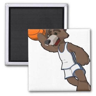 Lobo del baloncesto imán cuadrado