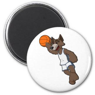 Lobo del baloncesto imán redondo 5 cm