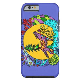 Lobo del caleidoscopio en azul funda para iPhone 6 tough