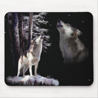 Lobo del cojín de ratón que grita con imágenes de tapete de ratón