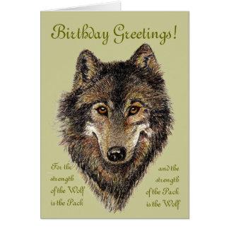 Lobo del cumpleaños lobos y cita animal felicitaciones