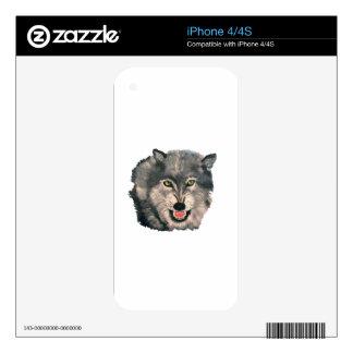 """""""Lobo del EL, iPhone 4/4S del lobo"""" Calcomanías Para El iPhone 4S"""