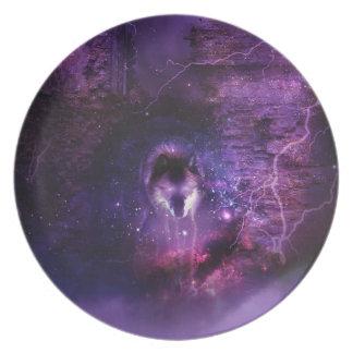 Lobo del espacio - placa plato de comida