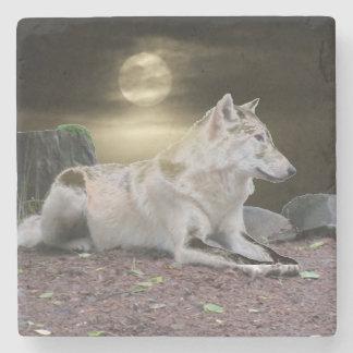 Lobo del fantasma en el claro de luna posavasos de piedra