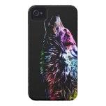 Lobo del fractal del arco iris Case-Mate iPhone 4 fundas