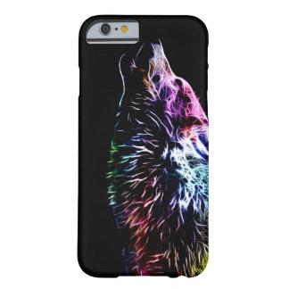 Lobo del fractal del arco iris funda para iPhone 6 barely there