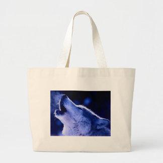 Lobo del grito bolsa tela grande