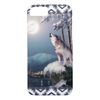 Lobo del grito con la ciudad de la caja del funda iPhone 7
